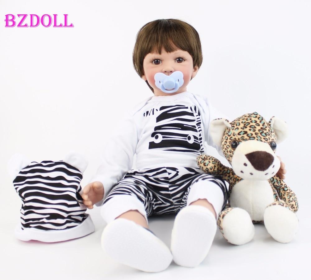 60cm Big Size Silicone Vinyl Reborn Baby Boy Doll Toy For Girl Lifelike 24 inch Toddler Babies Alive Bebe Child Birthday Gift