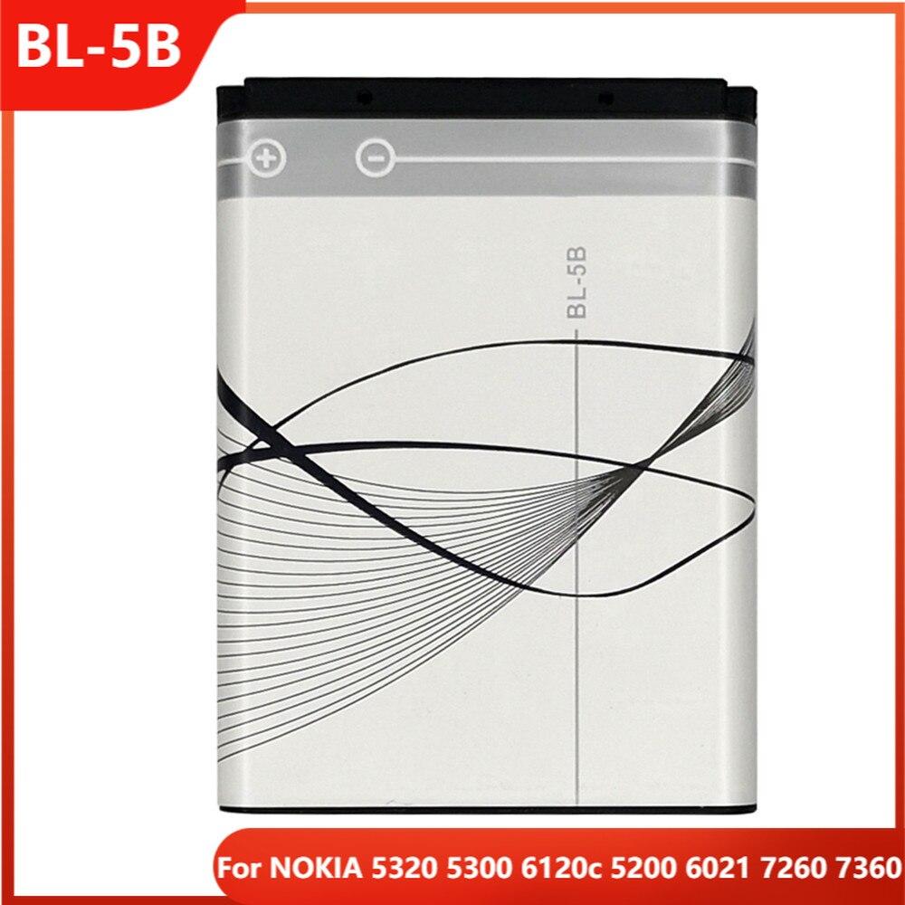 Оригинальный телефон, аккумулятор для NOKIA 5320 5300 6120c 5200 6021 7260 BL-5B, сменные аккумуляторные батареи 7360 мАч