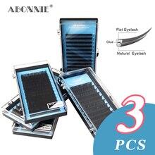 3pcs/case Ellipse Flat Eyelash Extentions Premium Individual Lashes Tray Supplies Professional Salon