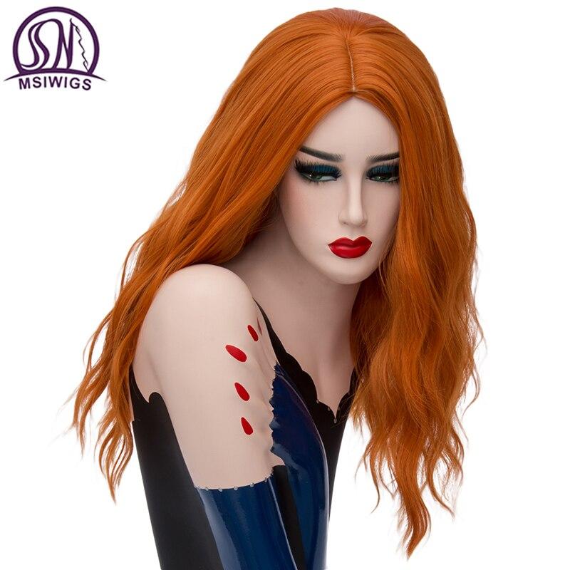 MSIWIGS-شعر مستعار صناعي طويل مموج ، أشقر برتقالي ، تأثيري ، شبكة شعر خالية من الألياف بدرجة حرارة عالية للنساء البيض