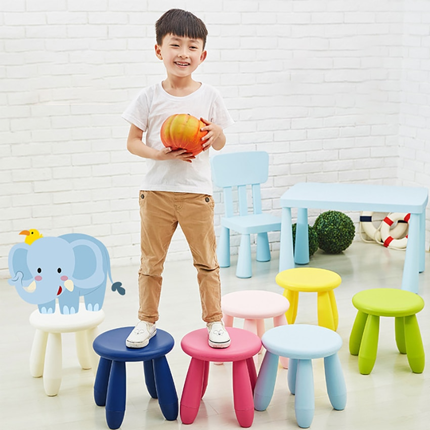 LazyChild Round Children's Stool Kindergarten Baby Learning Stool Thicken Plastic Game Seat Removable,  for Kids Adults