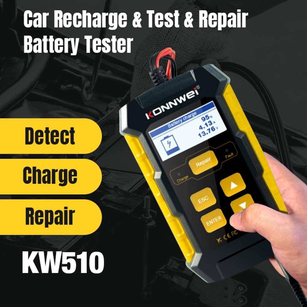 KW510 Car Battery Charger Battery Tester 12V Battery Maintainer for Cranking and Charging Systems