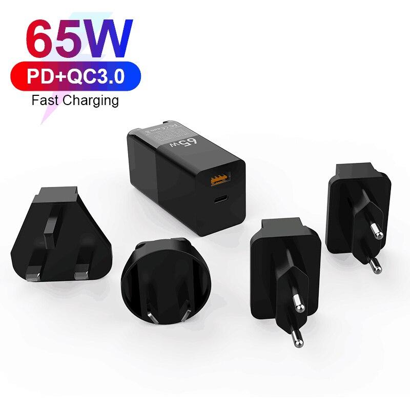 65W غان الجدار شاحن سريع تهمة 3.0 QC3.0 PPS SCP AFC PD 3.0 PD USB-C نوع C سريع USB شاحن للماك بوك برو فون سامسونج