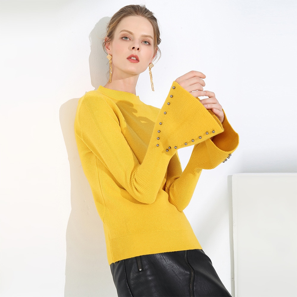 Slash neck Autumn Winter Pullovers Sweater Women pearl thick sweater knit flare long sleeve Basic Jersey Mujer