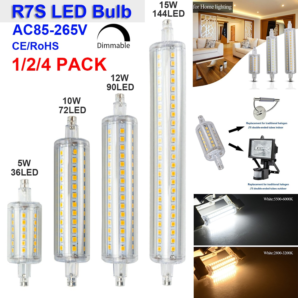 Bombilla LED Base R7S, lámpara R7S de 5W/10W/12W/15W 78mm 118mm 135mm 189mm, lámpara R7S regulable, bombilla LED R7S, 1 paquete/2 paquetes/4 paquetes de lámparas