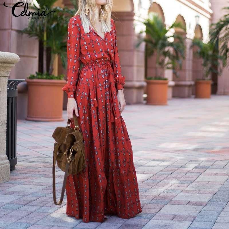 2020 Autumn Bohemian Printed Dress Women Celmia Loose V-neck Plus Size Long Sleeve Maxi Dresses Vintage Party Long Vestidos Robe