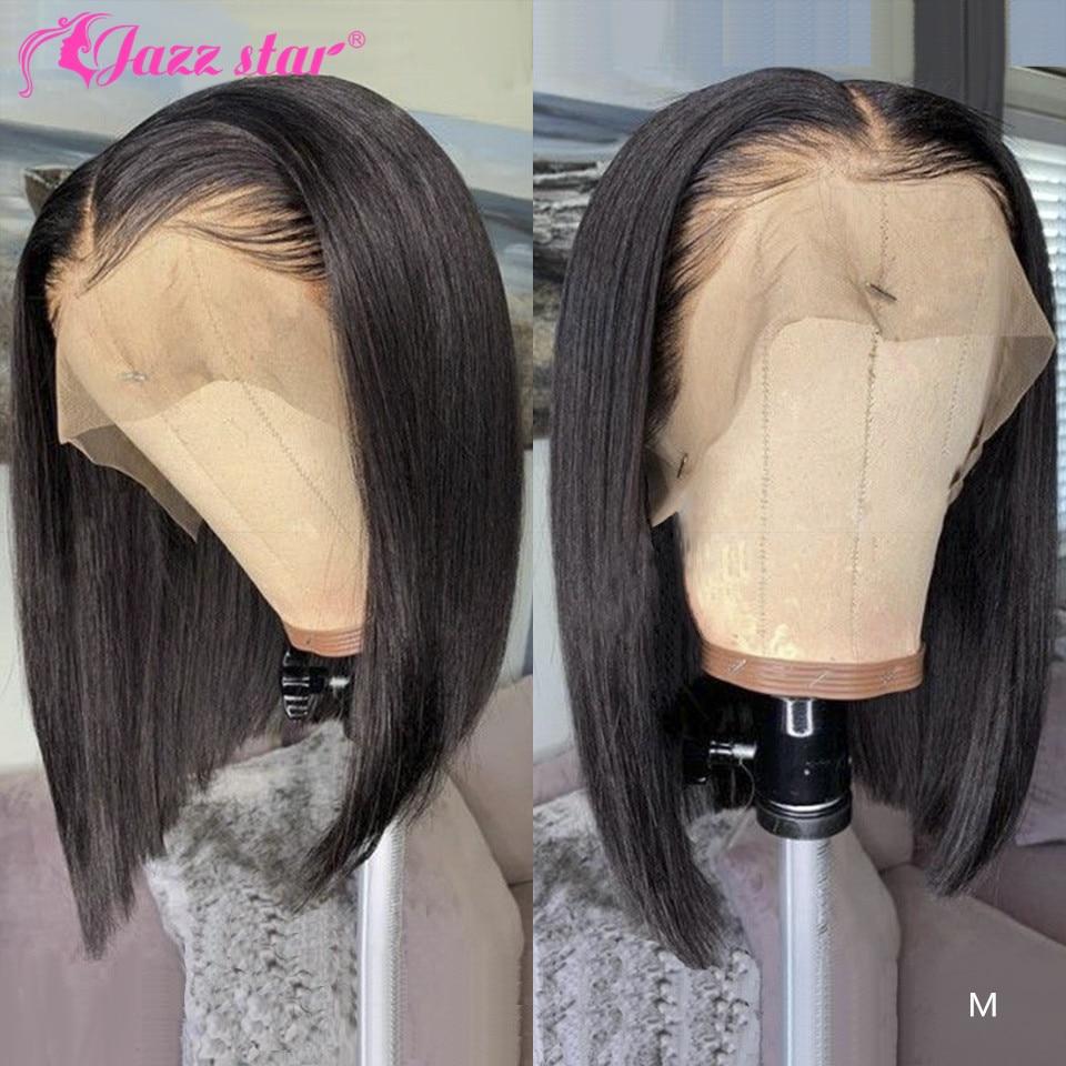 Парики из бразильских волос, прямые короткие парики, 13х4, кружевные передние человеческие волосы, предварительно выщипываемые волосы для де...