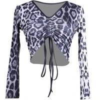 adult latin dance leopard tops woman crop top pleated modern long sleeve modal ballroom chacha samba tango dance practice wear