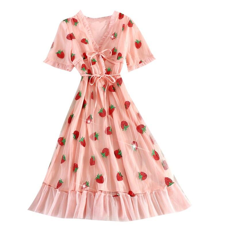 2020 verano Vintage Ruffle vestido con fresas mujeres dulce cuello pico Puff manga corta Boho vestidos estilo coreano Rosa vestido de tul largo