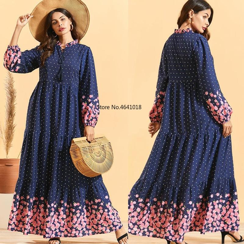 vestidos arabes Women Ethnic dot Bohemian Folds dress muslim abaya dress Arabic slamic ramadan Robe Abaya Dubai caftan dress
