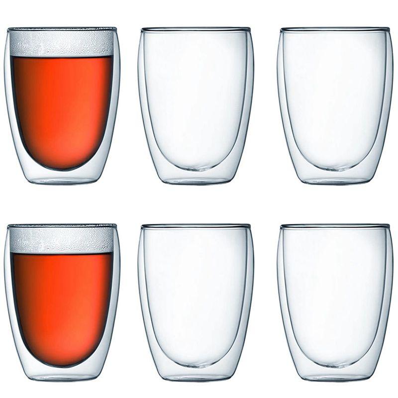 زجاج معزول شفاف مزدوج الجدار ، أكواب حرارية معزولة للشاي والقهوة واللاتيه والكابتشينو والمقهى والحليب