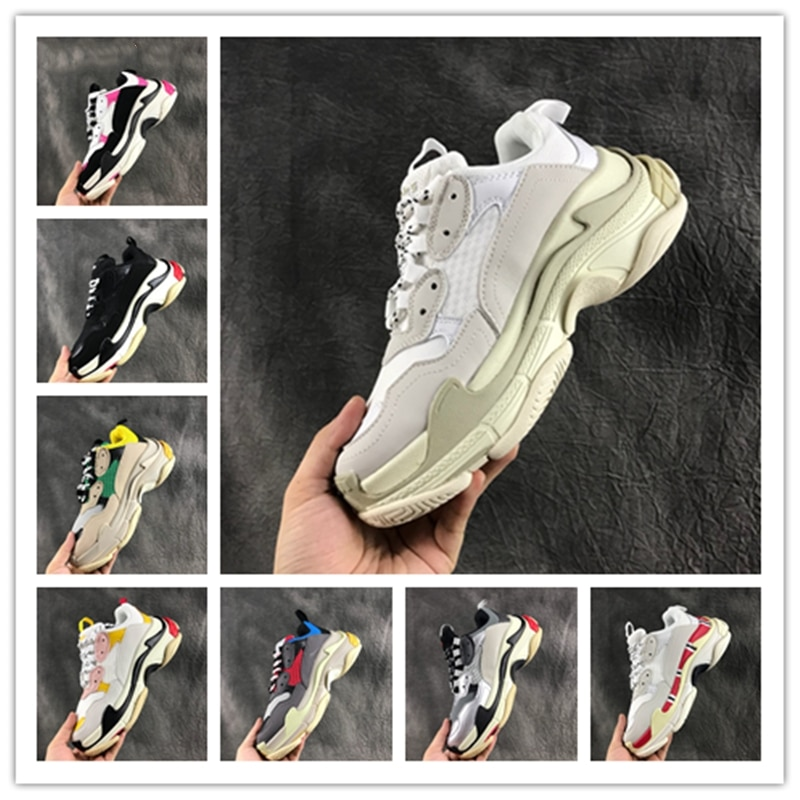 New Casual Designer Mens Shoes High Quality Meth Breathable Walking Shoes Comfortable Jogging Sneakers Triple S Shoes For Women