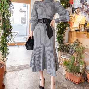 Women Turtleneck Knitted Sweater Long Dress 2020 Autumn Solid Long Sleeve Casual Dresses Elegant Bodycon Sheath Dress Female New