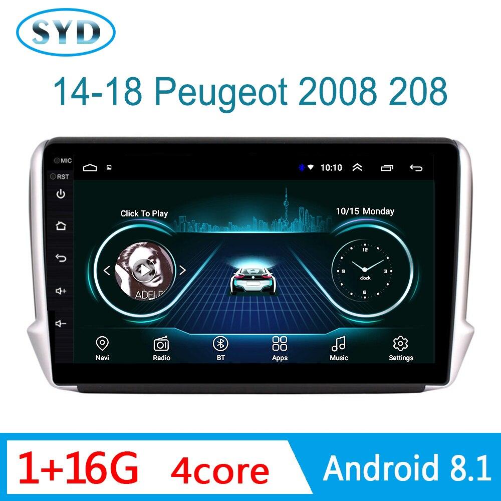Sistema Multimedia de Radio de coche para Peugeot 2008 2014-2018, reproductor de DVD navegador GPS con Radio Bluetooth Mirror Link 1 din Android