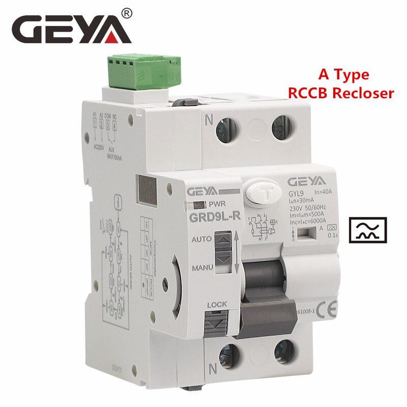 AliExpress - GEYA GRD9L-R Auto Recloser with A Type RCCB RCD ELCB 40A 63A 30mA 100mA 300mA Safety Breaker