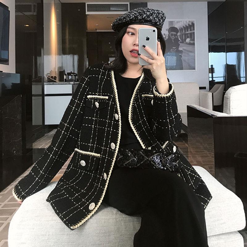 2020 New Retro Black Plaid V-neck Autumn Fashion Coat Women Jacket Women's Korean Loose Female Overcoat Channel Style Mid-length