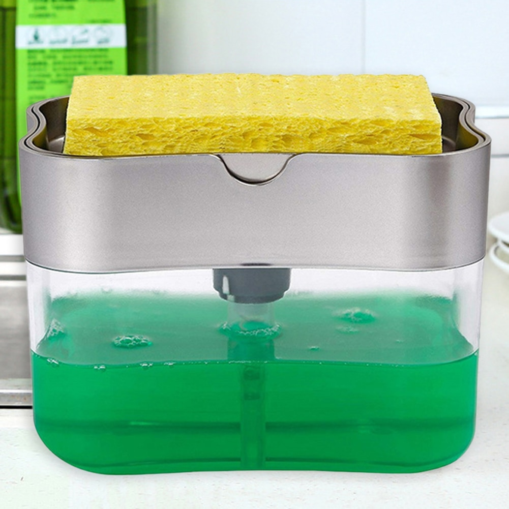2 in 1 Scrubbing Liquid Detergent Dispenser Press-type Liquid Soap Box Pump Organizer with Sponge Kitchen Tool Bathroom Supplies