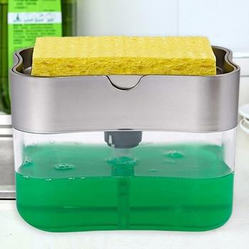 2 en 1 détergent liquide à récurer distributeur presse-type liquide savon boîte pompe organisateur avec éponge cuisine outil salle de bain fournitures