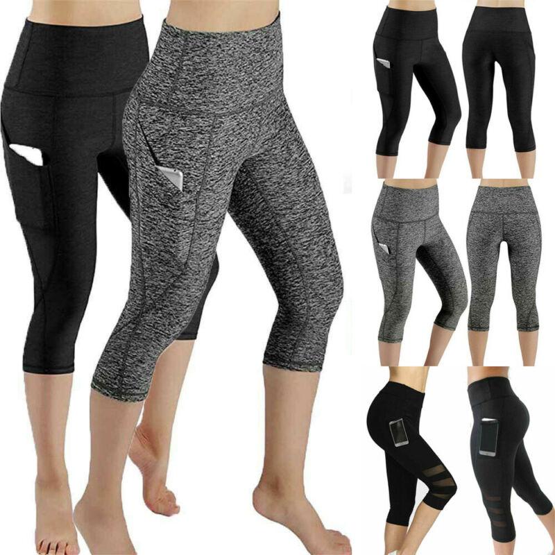 Pantalones Capri de cintura alta para mujer, pantalones de Yoga con bolsillos para Fitness, gimnasio, malla elástica 3/4, Leggings para entrenamiento, ropa deportiva para gimnasio
