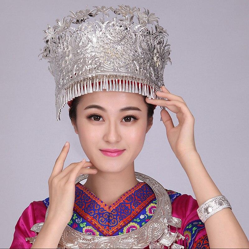 Chinois Miao danse chapeaux Miao argent coiffe minorité scène performance accessoires vintage tête