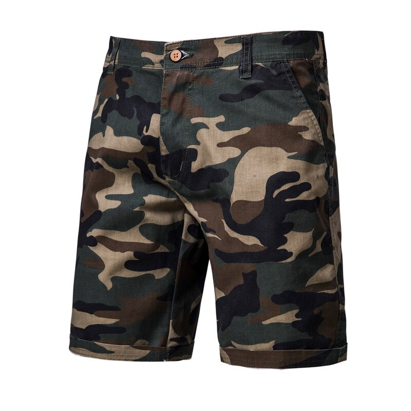2020 New Summer 100% Cotton Camouflage Shorts Men Knee Length Casual Military Mens High Quality Fitness Short