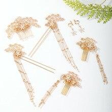Épingle à cheveux en perle vénitienne, fait à la main, couleur or, peigne, ensemble de pinces à oreilles, bijoux de mariée, accessoires de cheveux VL