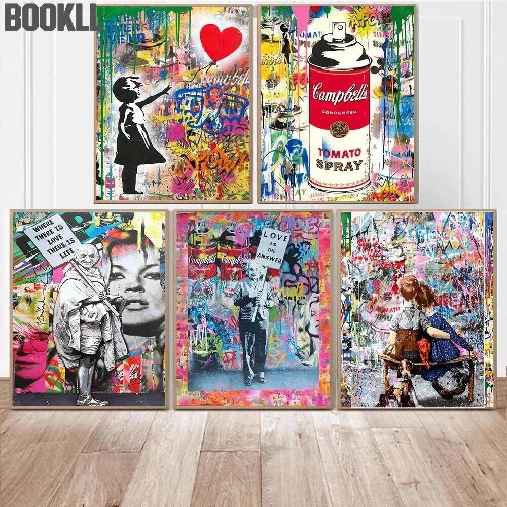 Граффити искусство абстрактная девушка с воздушным шаром улица Поп-Арт холст живопись плакаты и принты настенные картины для украшения дом...