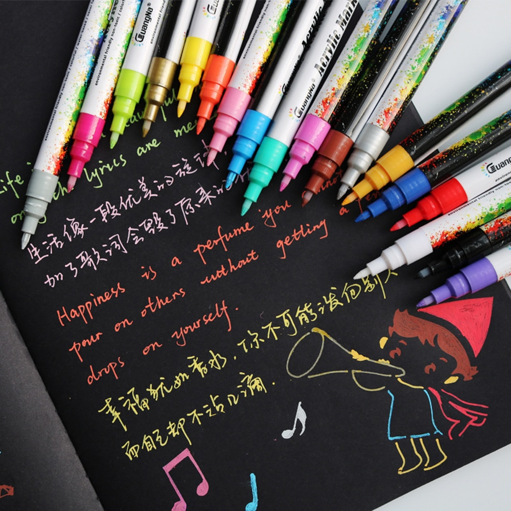 AliExpress - 6/12/18 Colors 0.7mm Acrylic Paint Marker pen for Ceramic Rock Glass Porcelain Mug Wood Fabric Canvas Painting