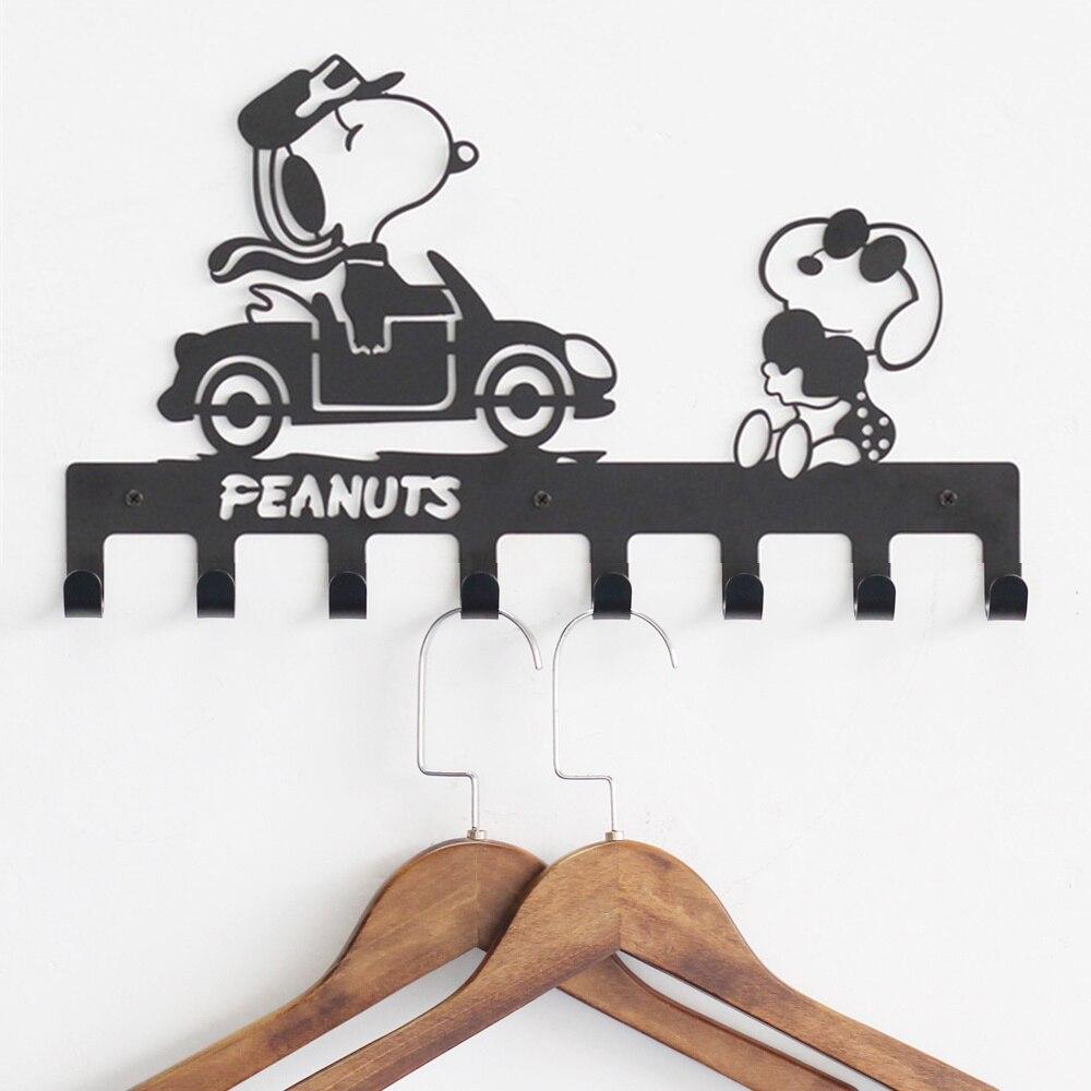 Diseños distintivos 8 ganchos percha Metal negro perro encantador correa de entrada y llavero ganchos de pared decorativo Baño