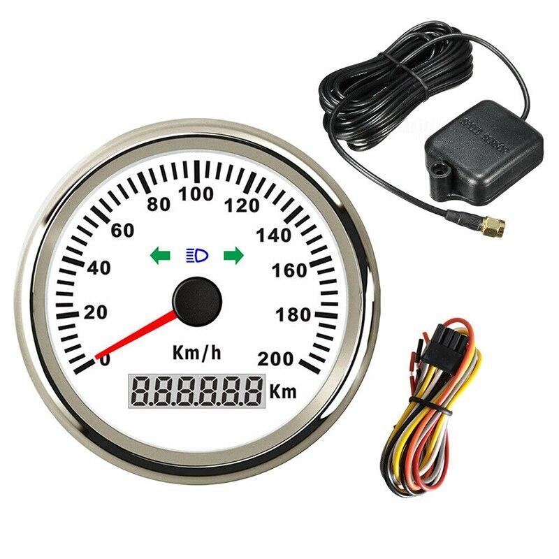 Velocímetro GPS 85mm 200 km/h, velocímetro de velocidad para coche, velocímetro a prueba de agua, odómetro a la izquierda y Luz De Carretera
