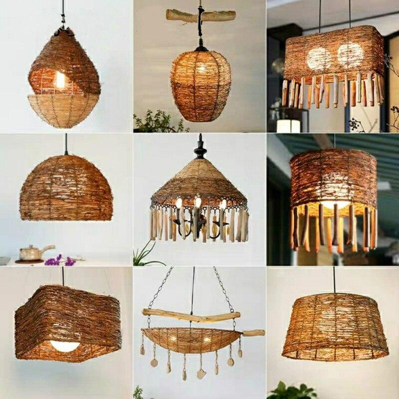 Lámpara de tejido de mimbre antiguo de estilo americano, lámpara de salón Zen Inn, casa de té, casa de té, lámpara de Rota creativa de granja