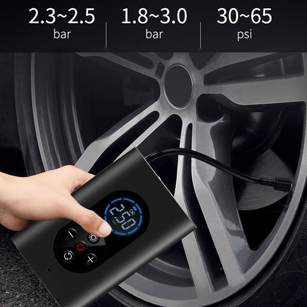150psi recarregável carro inflator bomba de ar com lâmpada led para carro motocicleta bicicleta pneu bolas inteligente digital inflável fio