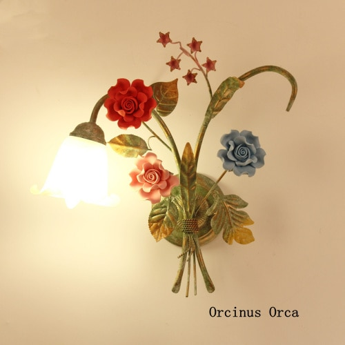 Luces de pared de flor Pastoral mediterránea pasillo de sala de estar luces de noche país Rosa vidrio