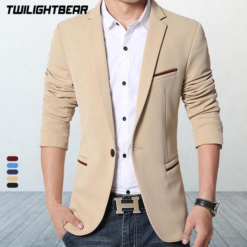 Brand Mens Casual Blazers Autumn Spring Fashion Slim Suit Jacket Men Blazer Masculino Clothing Vetement Homme M~5XL HF1415