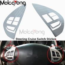 Para Mitsubishi ASX 2007-2012 coche Outlander interruptor de Control de volante Audio Botón de crucero pegatina cubierta de patrón de fibra de carbono
