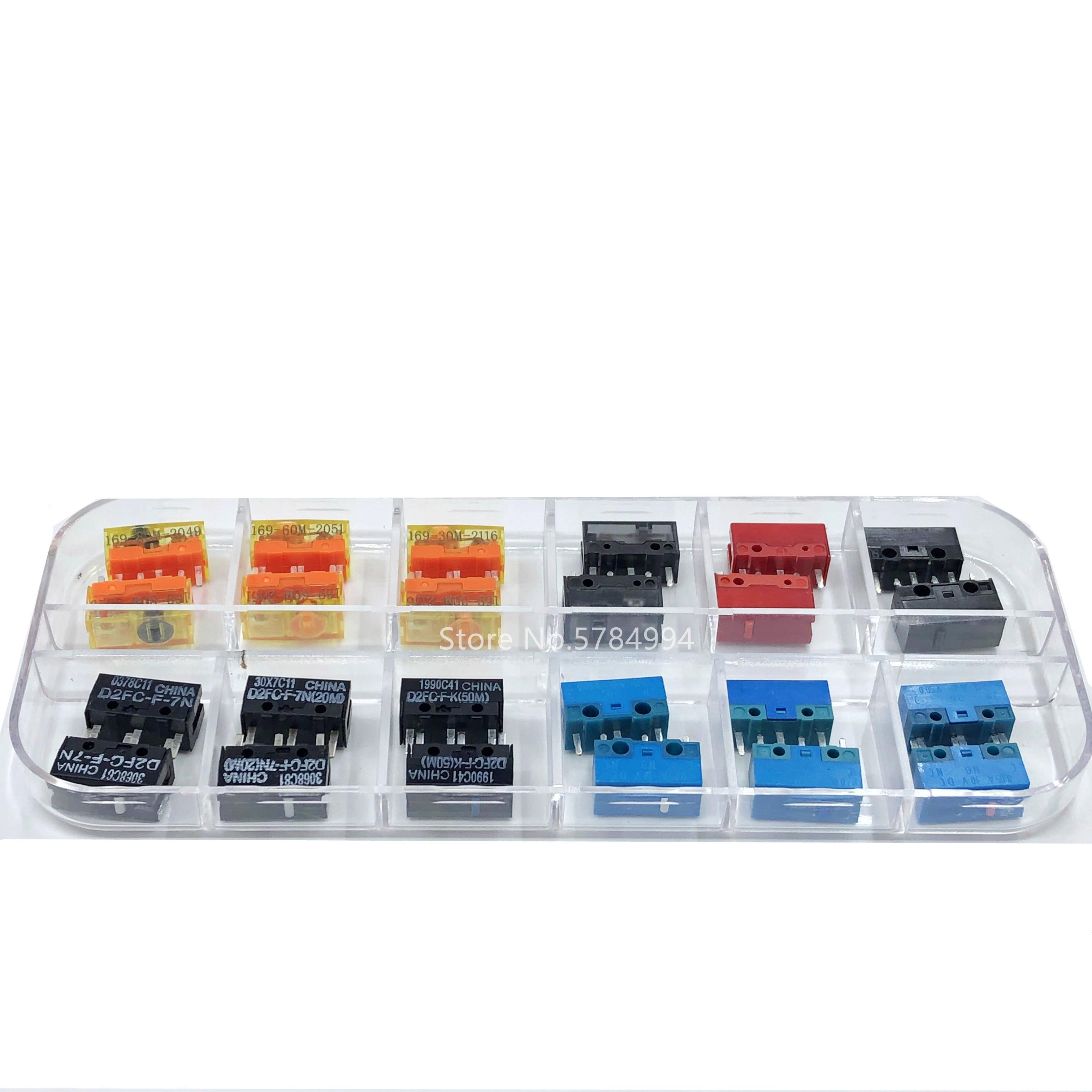 24 قطعة/صندوق التبديل الجزئي متنوعة TTC 3pin Kailh ماوس زر إصلاح صندوق مناسبة للمكتب/المنافسة الإلكترونية D2FC-F-7N