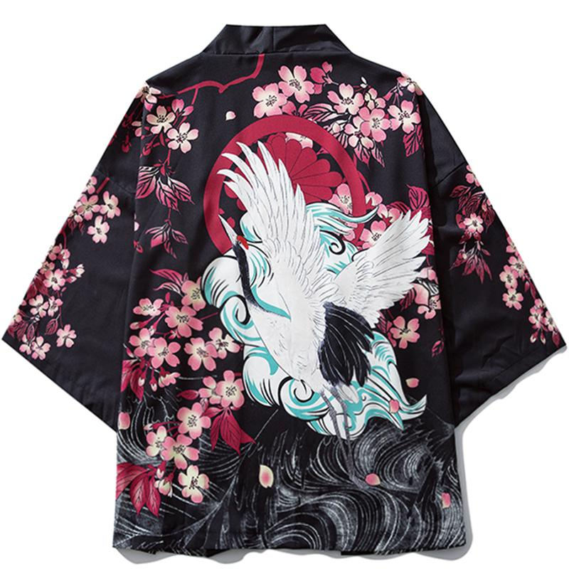 Estilo japonés Cardigan Kimono Cherry Blossom Crane Kimono chaquetas hombre Harajuku Streetwear nuevo estampado abrigo Hip Hop delgada Bata