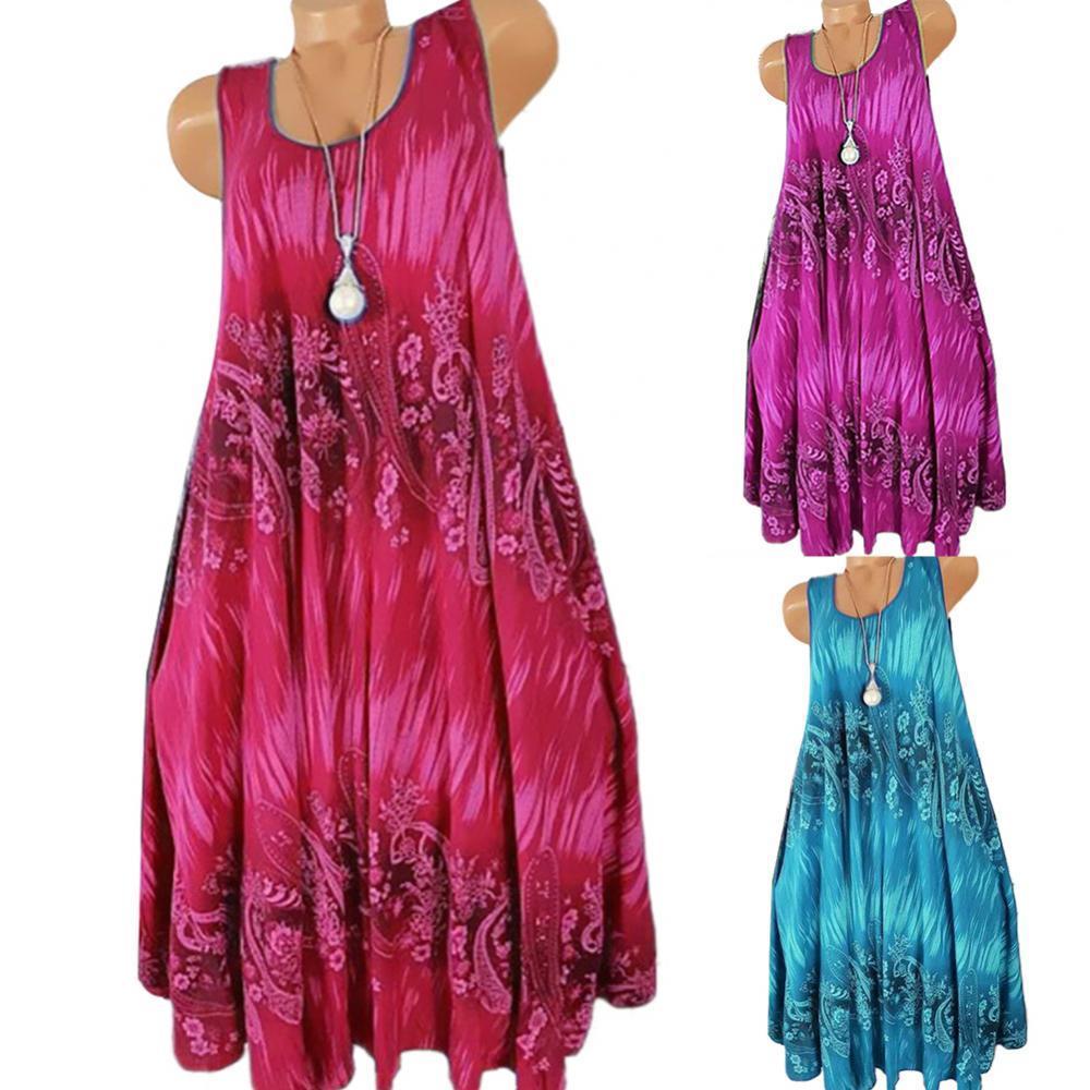 woman dress Summer Floral Print Round Neck Sleeveless Loose Pleated Dress платье летнее платье женское женское платье женское платье tiffany girls shop 1523 2015 ebay