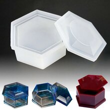 Silicon DIY Crystal Epoxy Hexagonal Storage Box Clay Mold Jewelry Making Gift Box Hexagon Storage Box Mould With Lid