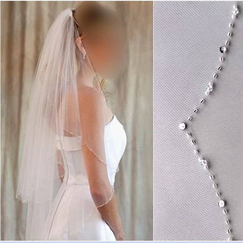 Promotion High Quality Wedding Accessories Elegant Waist Length Tulle two-layer beading with comb Wedding Veils