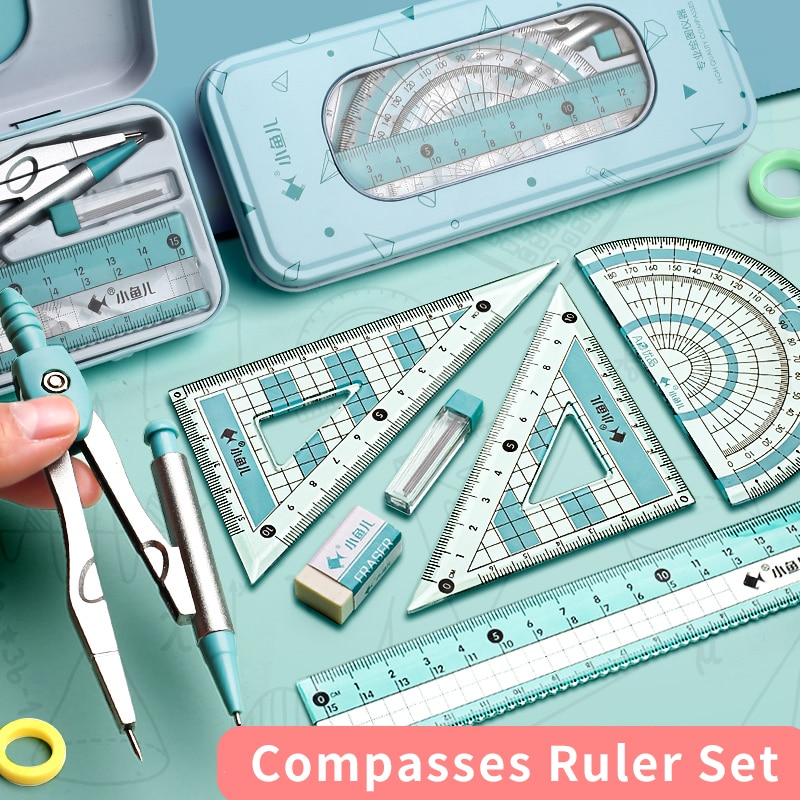 Compasses Ruler Set Triangle Ruler Student Stationery Straightedge Triangle Set Ruler Multifunctional Junior High School Drawing