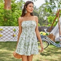 modern floral print summer dresses casual empire pleated ladies frocks for women sexy ruffles backless slip dress mini vestidos