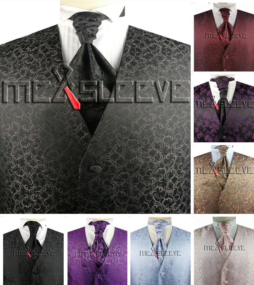 free shipping custom made woven  formal vest set for wedding
