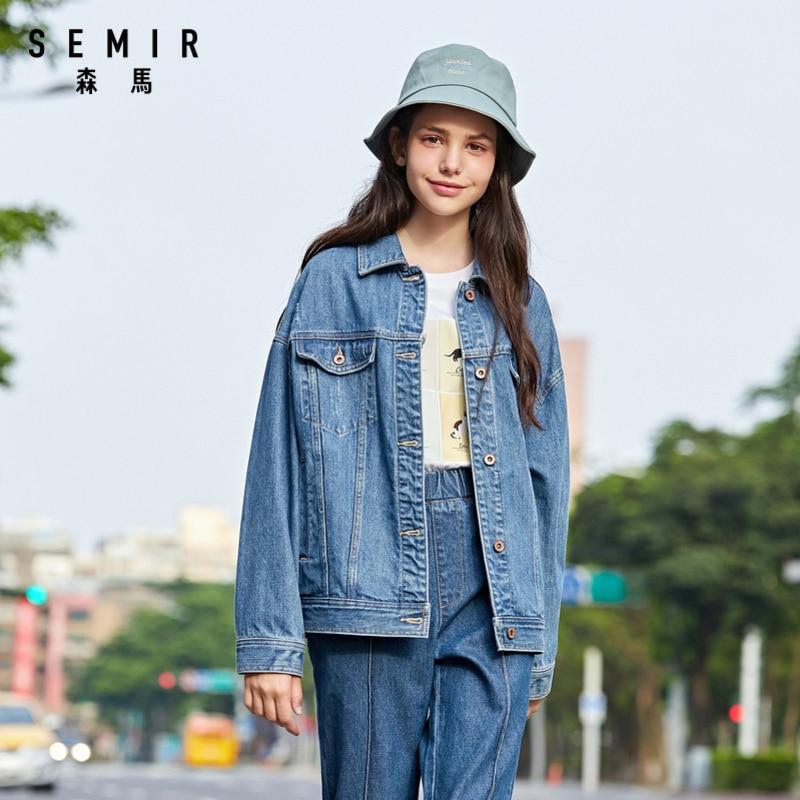 SEMIR Women retro denim jacket 2020 new popular lapel loose street trend girl long-sleeved shirt jacket