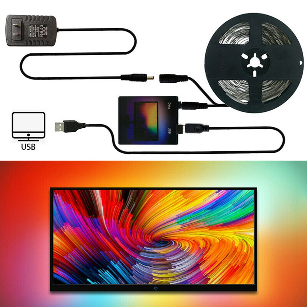 Kit de tira de luces LED WS2812 Monitor de pantalla de ordenador duradero decoración del hogar Color de sueño RGB USB TV Back para escritorio PC ambiental