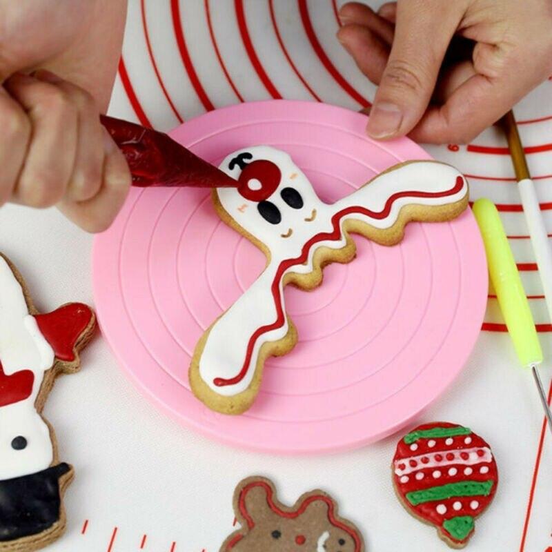 2020 más vendidos herramientas para hornear 14cm Mini galletas para pasteles Decoración elegante mesa giratoria manual soporte para pasteles Base antideslizante