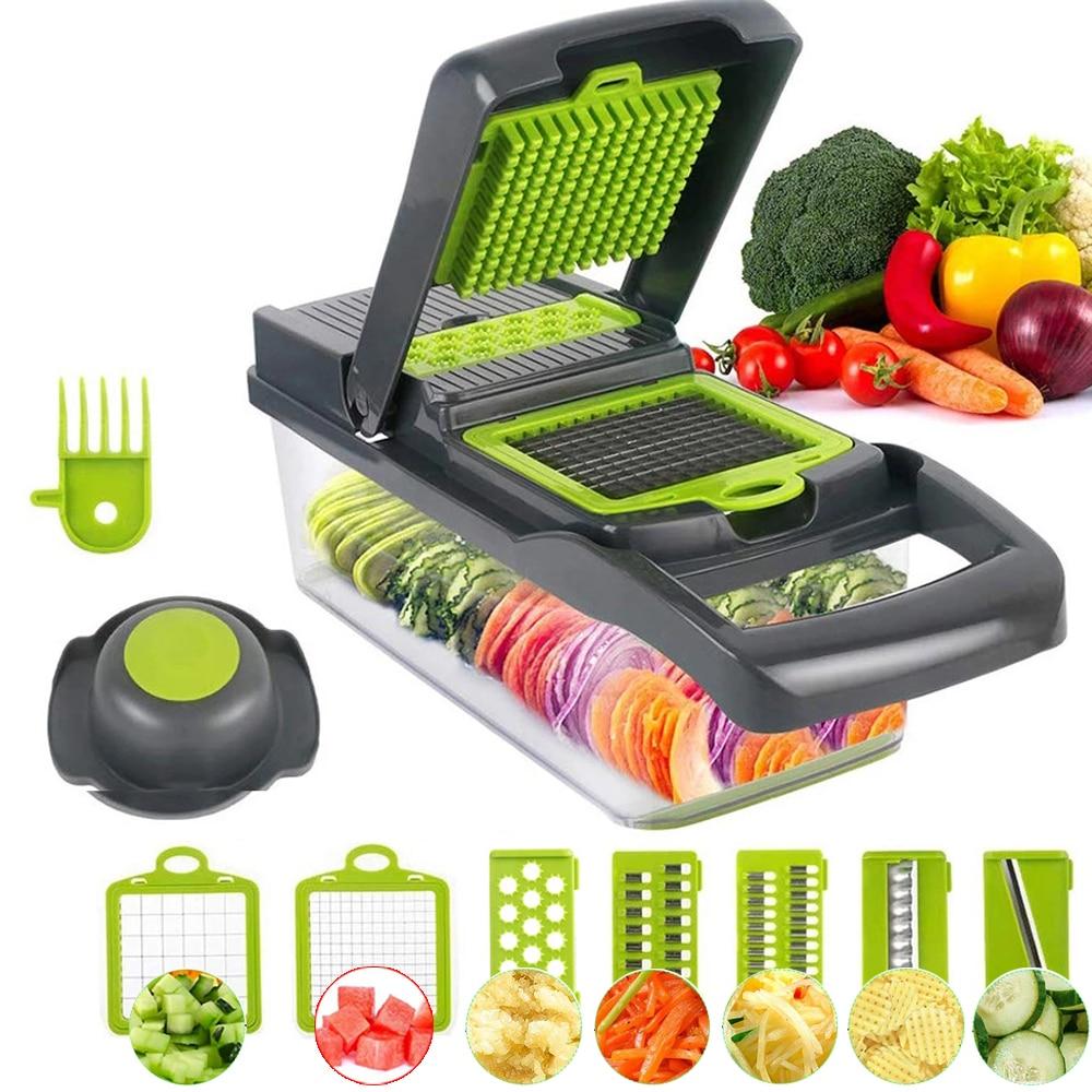 قطاعة الخضراوات متعددة الوظائف آلة قطع ماندولين الفاكهة أداة تقشير البطاطس الجزرة مبشرة اكسسوارات المطبخ سلة تقطيع الخضار