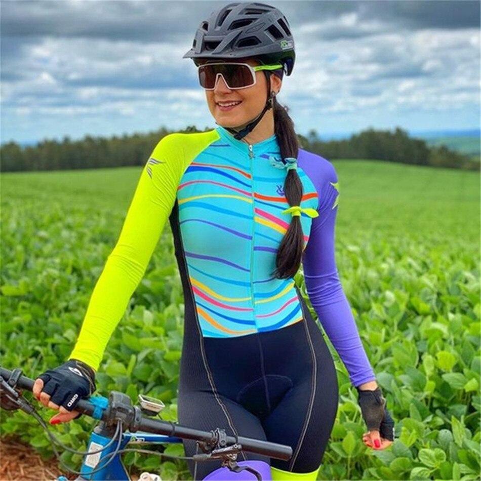 2021 XAMA женский рюкзак, комбинезон с длинным рукавом Женские комплекты скафандр Maillot Ropa Ciclismo Mujer велосипедный Триатлон Одежда