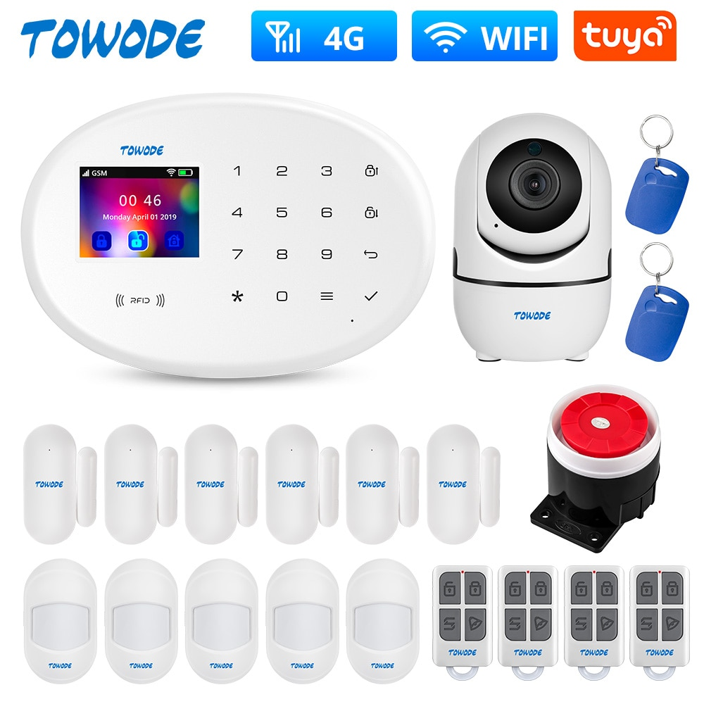 TOWODE W20 Tuya Smart Alarm System WIFI GSM 4G Home Security Full Touch Keypad Wireless Alarm Panel With 1080P Indoor Camera Kit