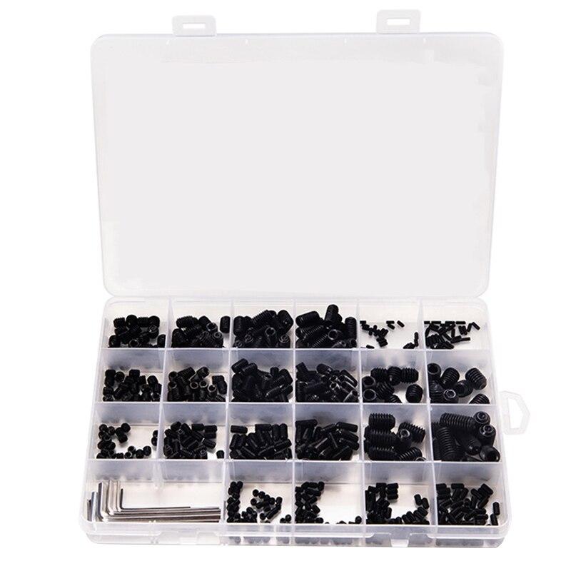 666 pièces ensemble vis tasse Point vis sans tête M2 M3 M4 M5 M6 M8 vis à six pans creux vis à tête hexagonale sans tête